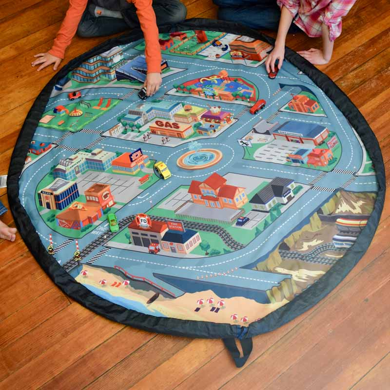 This car city play mat is perfect for a block center or playing with cars. It even becomes a drawstring bag to store toy cars and accessories.