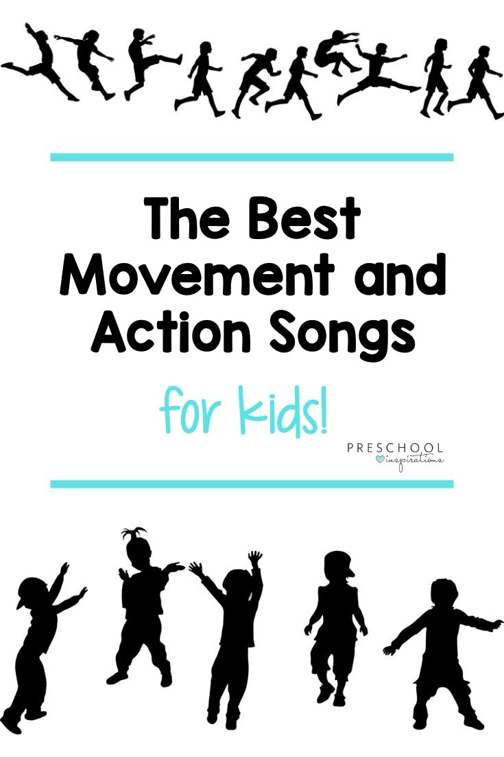 Use these movement and action preschool songs during circle time, transition time, as a brain break, or anytime throughout the day! A great list of action-oriented music for kids that is sure to get everyone up and grooving.