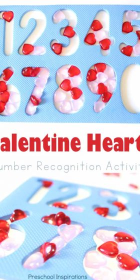 A preschool number recognition activity perfect for Valentine's Day. Kids work on counting, number recognition, fine motor skills, patterns, and one-to-one correspondence
