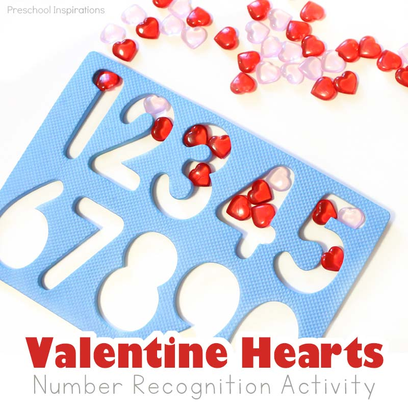 Valentine hearts number recognition activity for preschool
