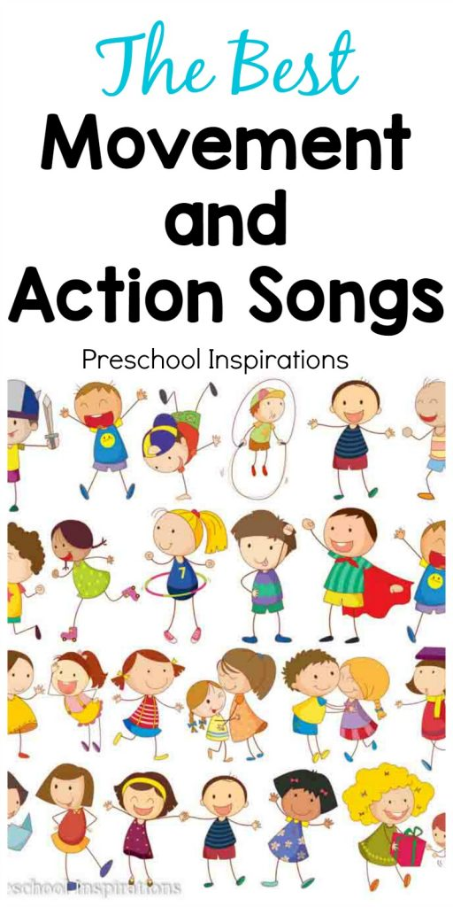 Need the perfect song for active children? These are some of the best movement and action songs. They're great for circle time songs or as an indoor activity on a bad weather day. #preschool #prek #kindergarten #kidssongs #brainbreak #actionsongs #circletime #circletimesongs