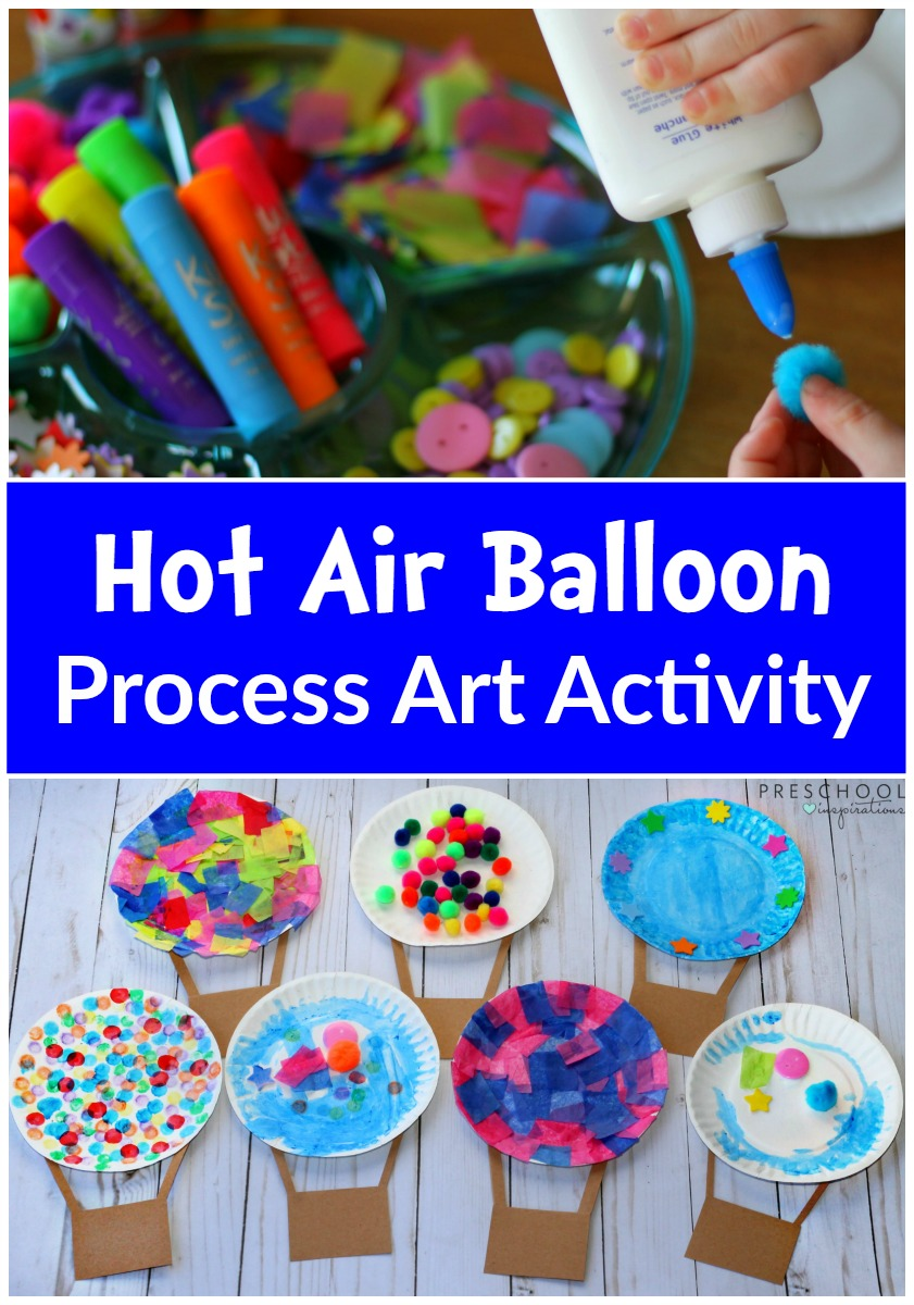 Hot Air Balloon Process Art Activity on Simple Paper Collage Ideas For Kids