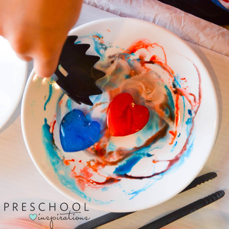 Colorful hearts ice play