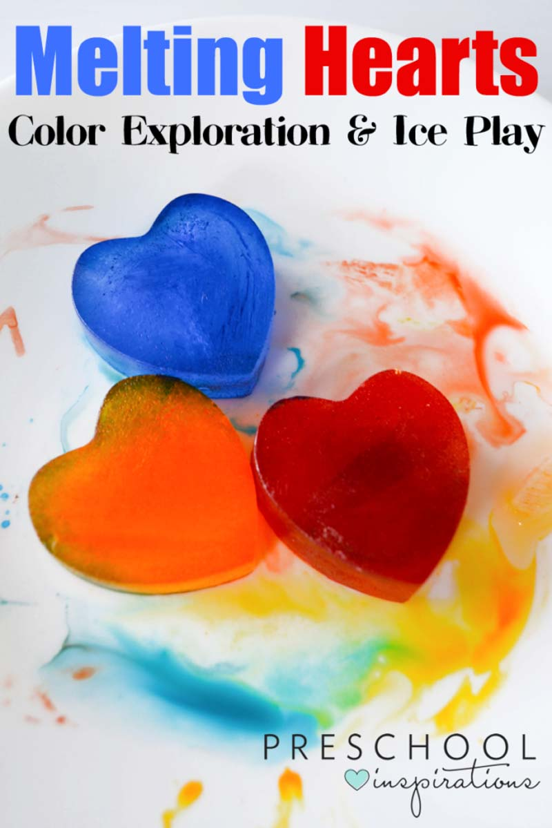 Melting hearts color exploration and ice play - what a fun and easy way to explore math, science, and fine motor skills