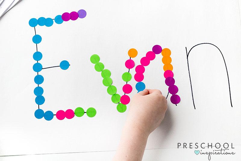 Preschool name activity with a rainbow theme.