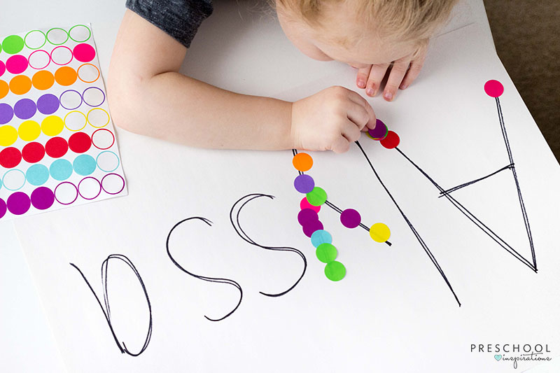 Rainbow fine motor activity for preschool.