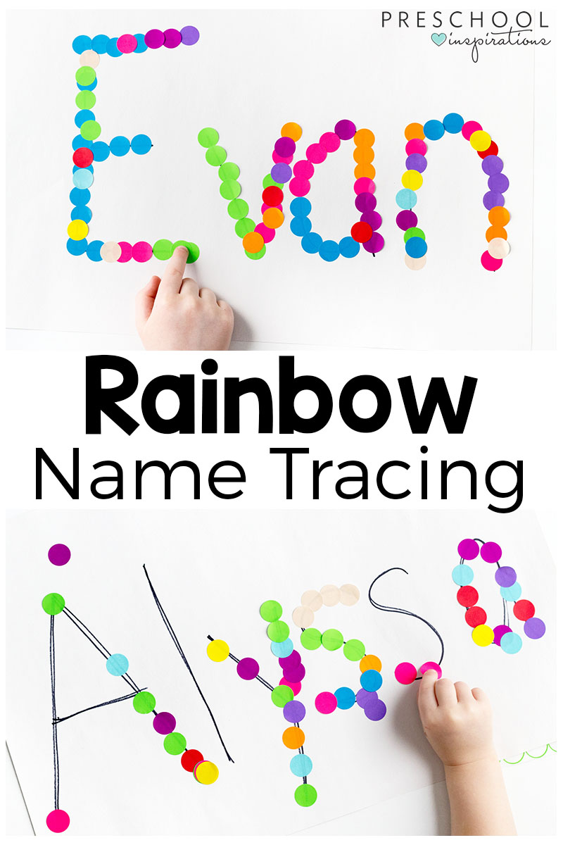 rainbow name tracing activity preschool inspirations