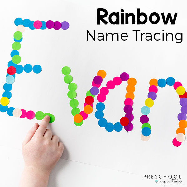 Rainbow theme activity for preschoolers. A fun letter recognition and pre-writing activity.