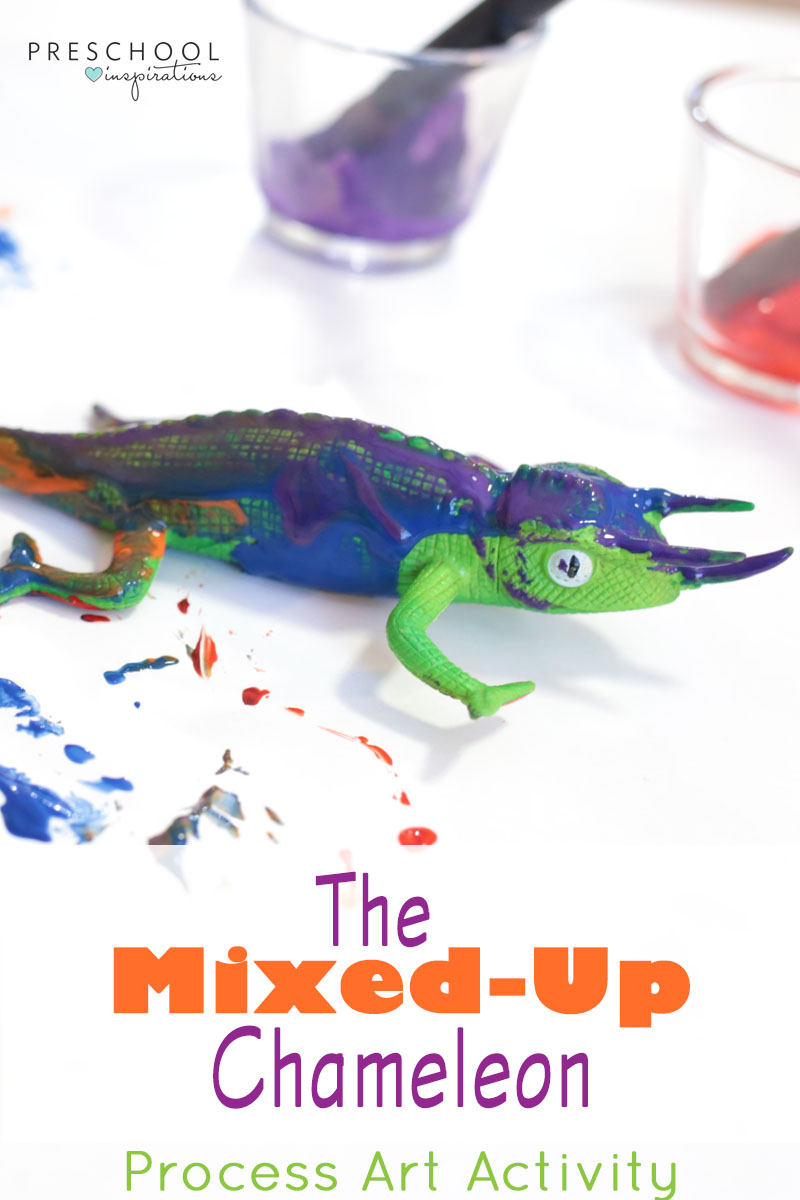 Fun preschool process art activity to pair with Eric Carle's book The Mixed-up Chameleon