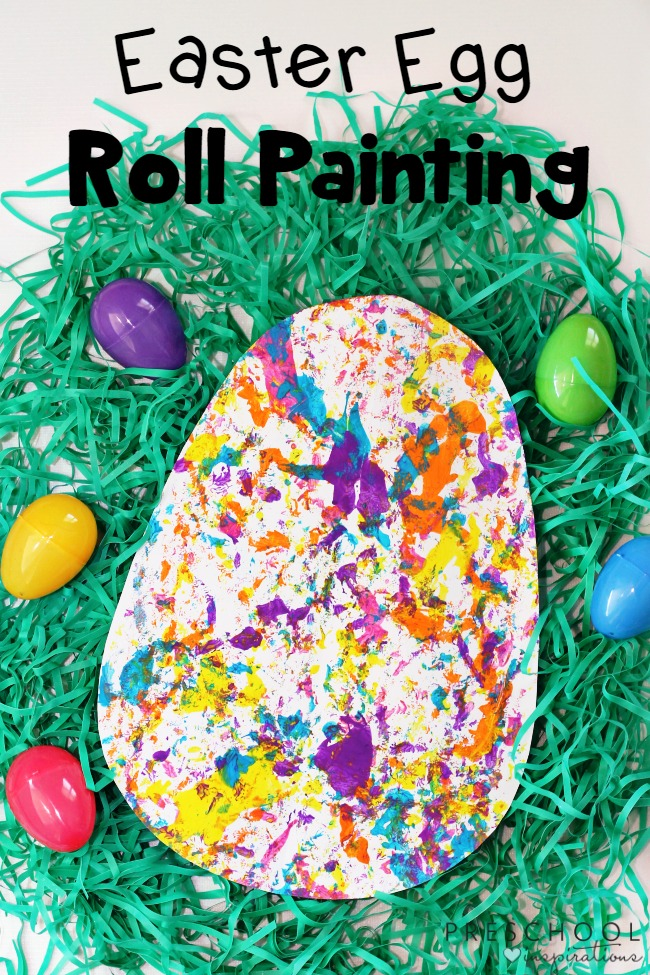 Easter Egg Roll Painting, Process Art Activity, Easter Craft, Easter Activity