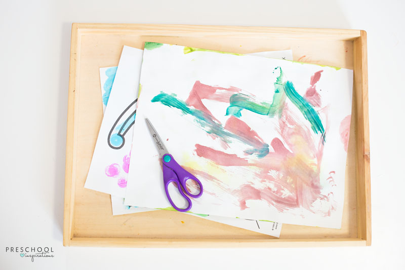 Practice scissor skills with a cutting tray