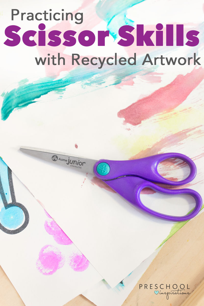 Give preschoolers a chance to practice scissor skills using recycled artwork!