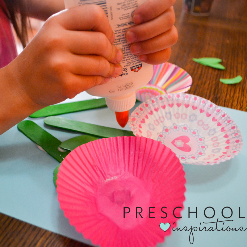 Let kids make colorful cupcake liner flowers this spring