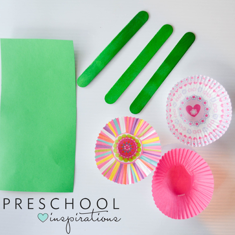 Materials needed to make cupcake liner flowers