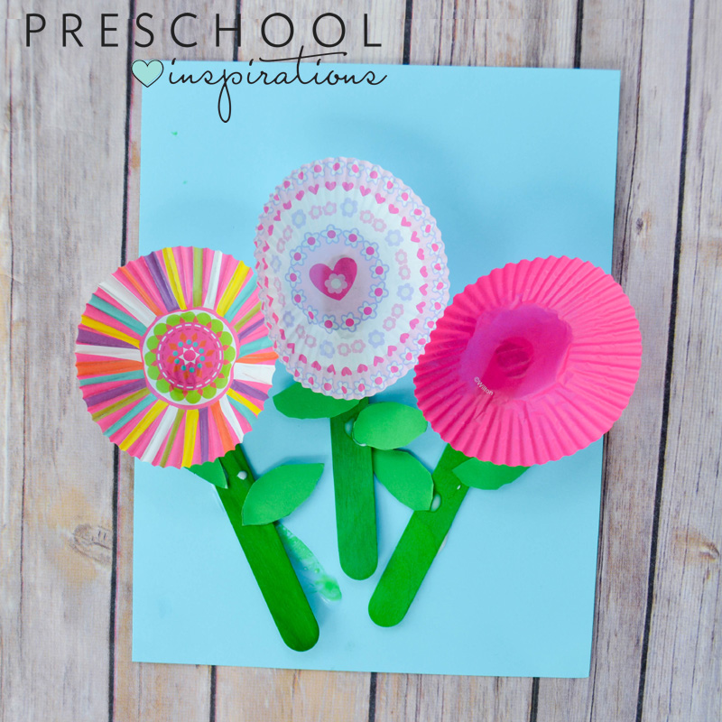 Beautiful cupcake liner flowers kids can make on their own