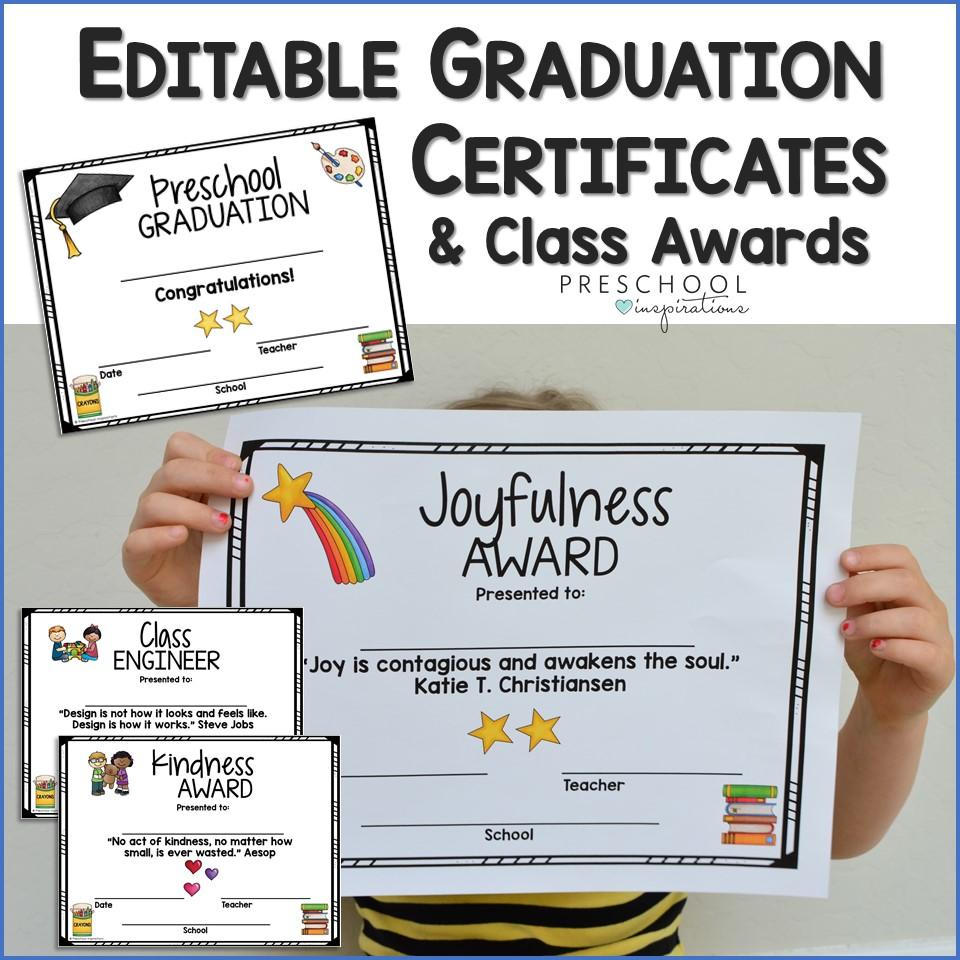 Graduation Certificates And Class Awards For Preschool