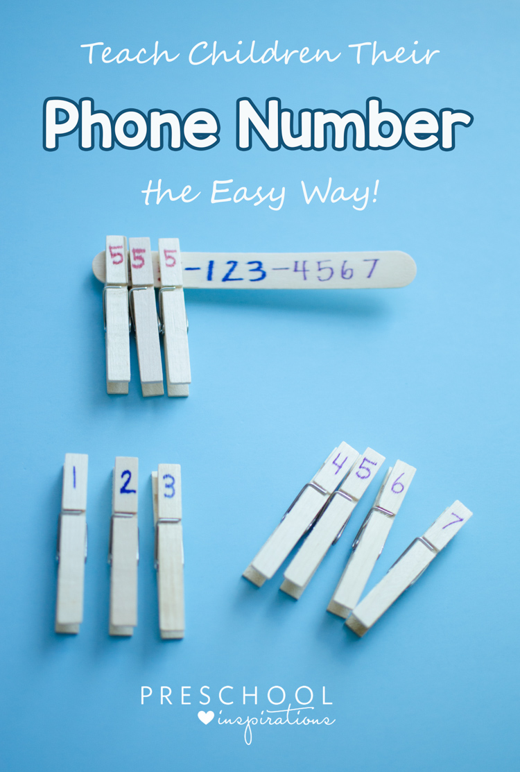 Need a quick and easy way to teach your child your phone number? This hands-on method with clothespins and a craft stick works like magic! Plus, it sticks!