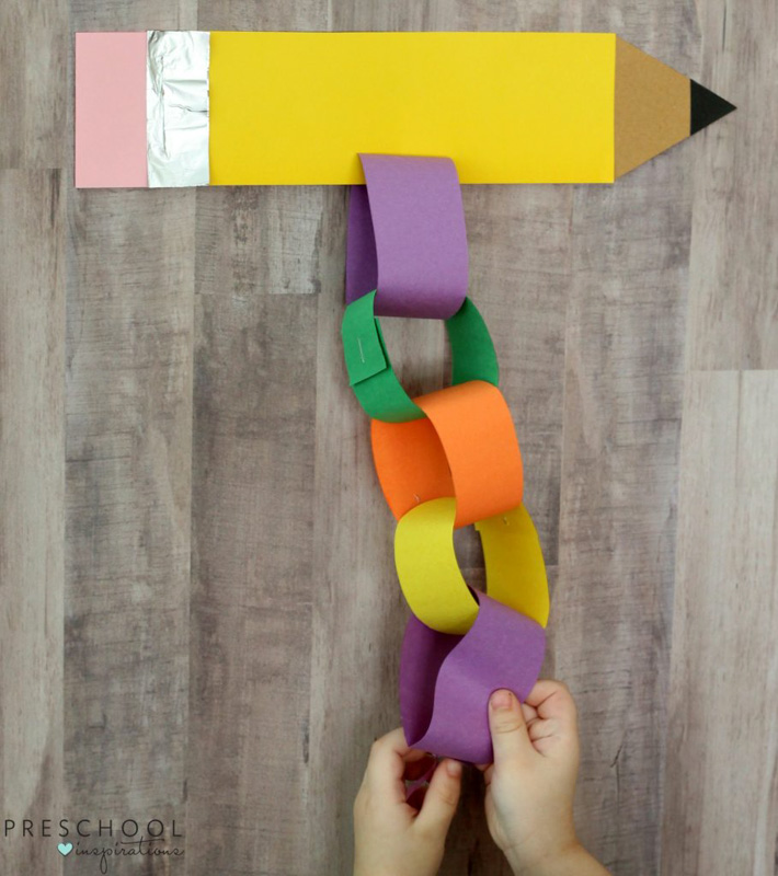 Back to school craft countdown for kids going into preschool