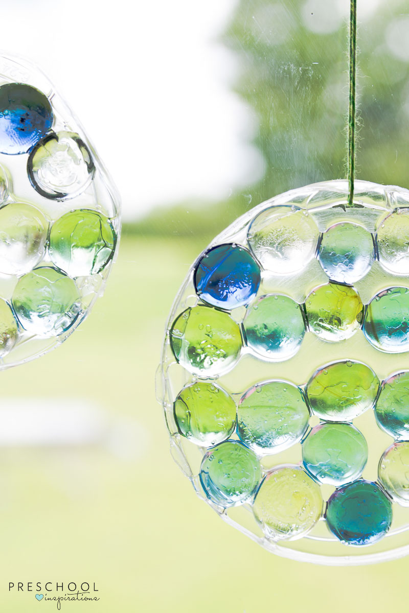 Glass Gem and Glue Suncatcher