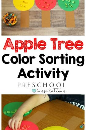 Color Sorting Preschool Apple Activity fine motor practice