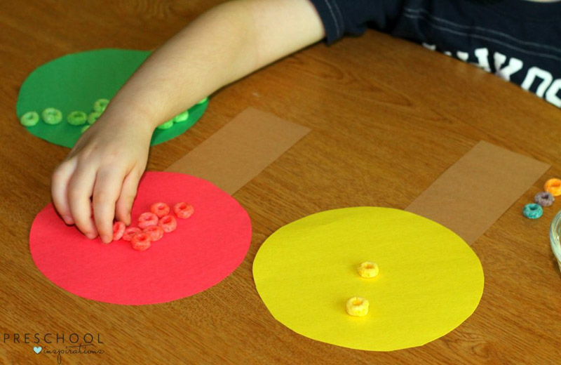 Fine motor and sorting practice with a preschool apple activity