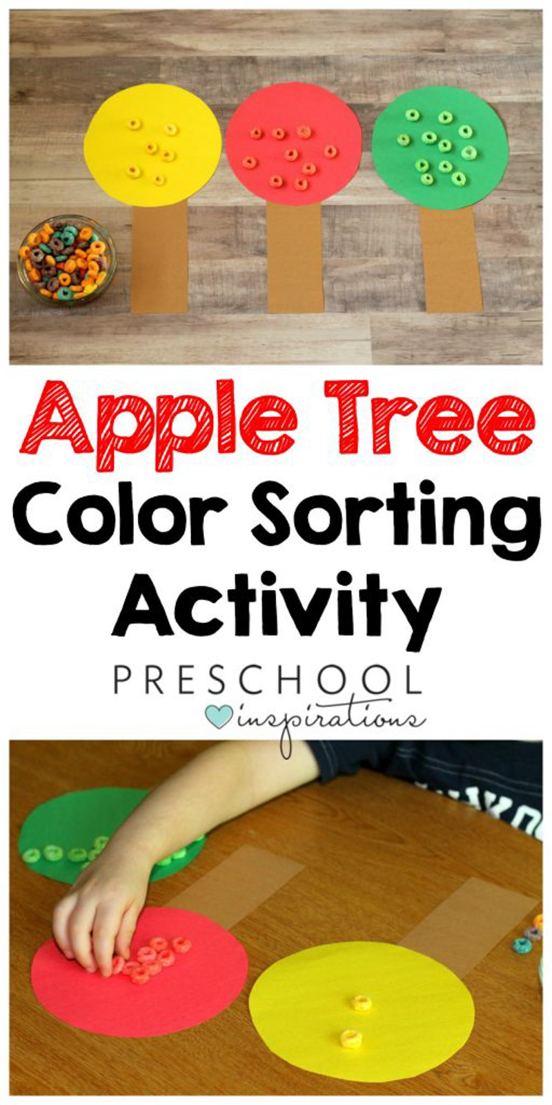 Color Sorting Preschool Apple Activity fine motor practice #preschool #preschoolactivities #preschoolinspirations #finemotor #colors #toddlers  #toddleractivities #preschoolinspirations
