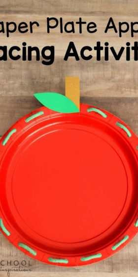 Paper Plate Apple Lacing Activity - works on fine motor skills in a fun and easy way