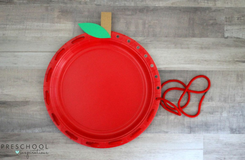 Lacing activity for a preschool apple theme