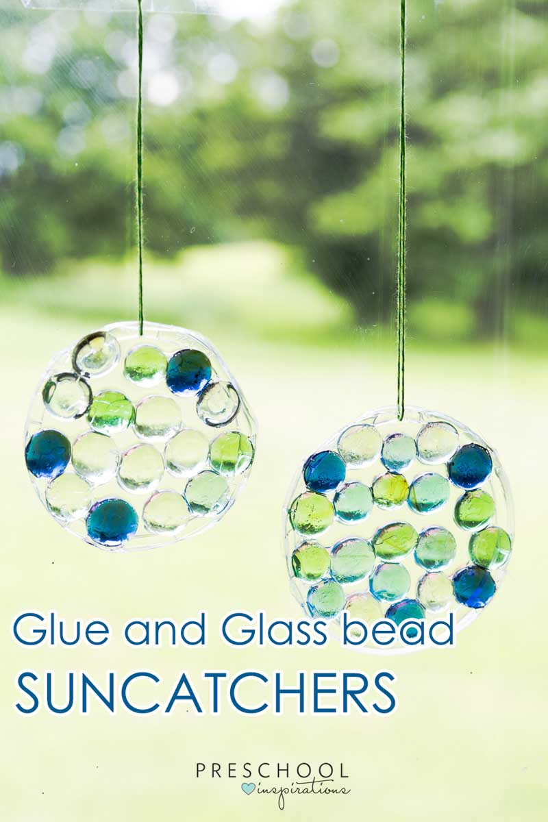 This preschool craft is a great way to decorate windows. Make a glass gem and glue suncatcher. #preschool #prek #kindergarten #toddleractivities #preschoolactivities #craftsforkids
