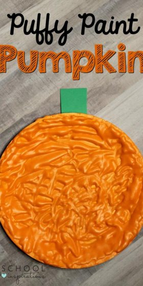 Make this fall art activity with puffy paint! These puffy paint pumpkins uses paper plates and are perfect for the fall.