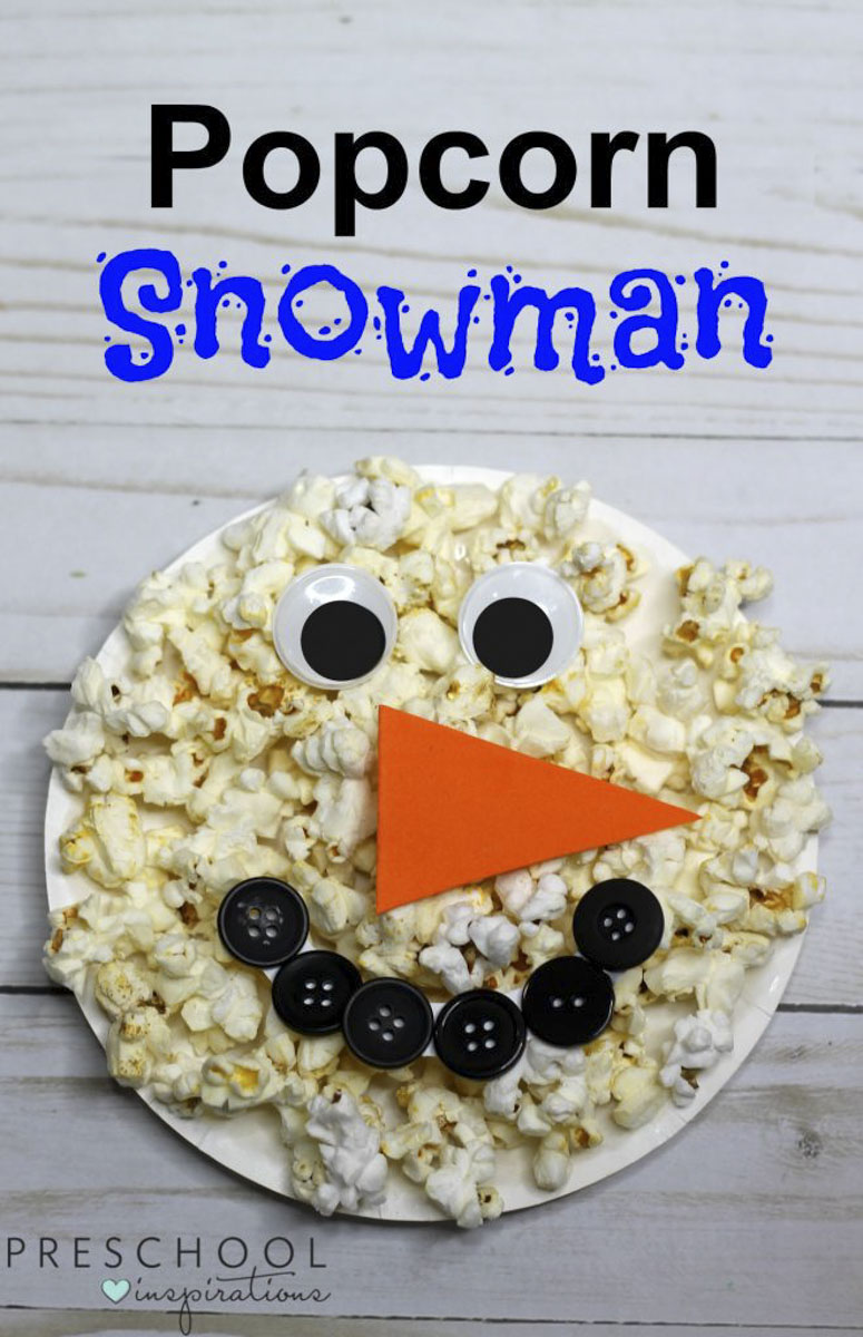 Make a Paper Plate Snowman with Popcorn & Paper Plate Snowman Craft with a Popcorn Twist - Preschool ...