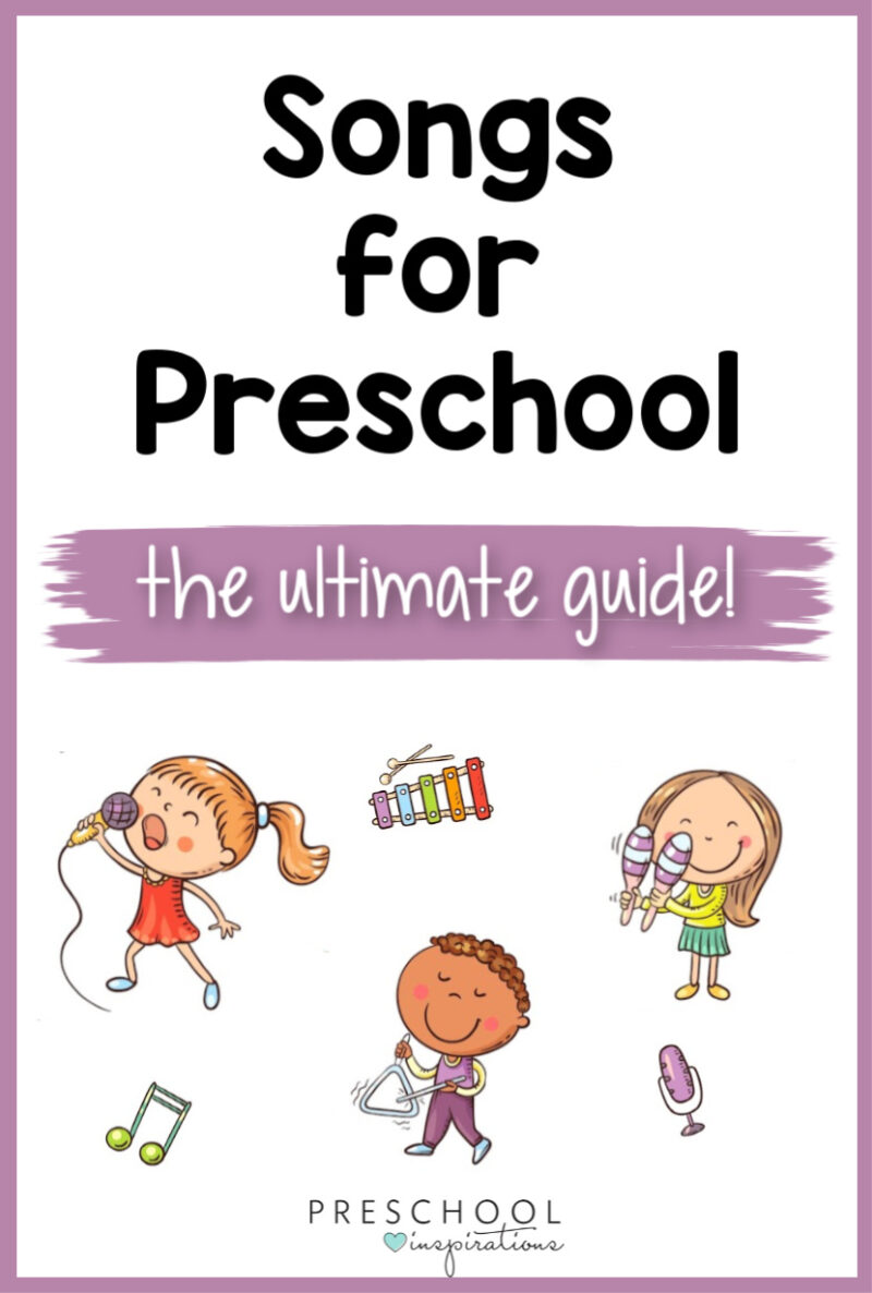 pinnable image of three cartoon kids playing instruments and the text songs for preschool the ultimate guide
