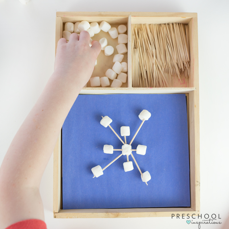 Make marshmallow and toothpick snowflakes to learn about symmetry