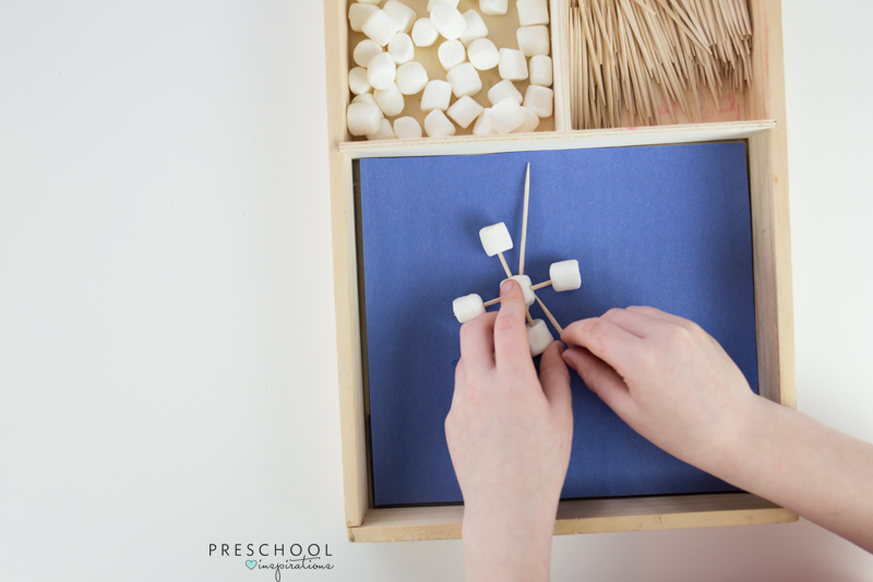 Marshmallow and toothpick snowflakes also work on fine motor skills
