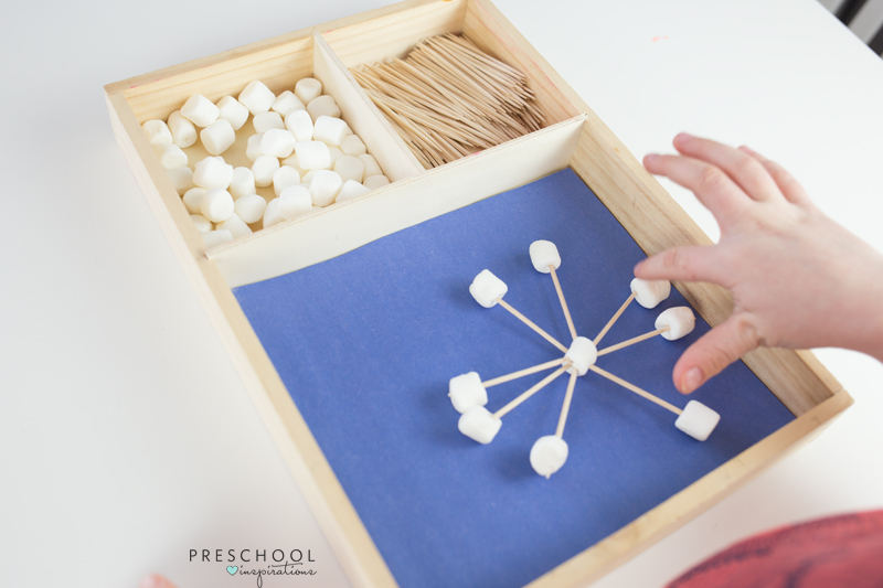 Counting the pieces of a marshmallow and toothpick snowflake
