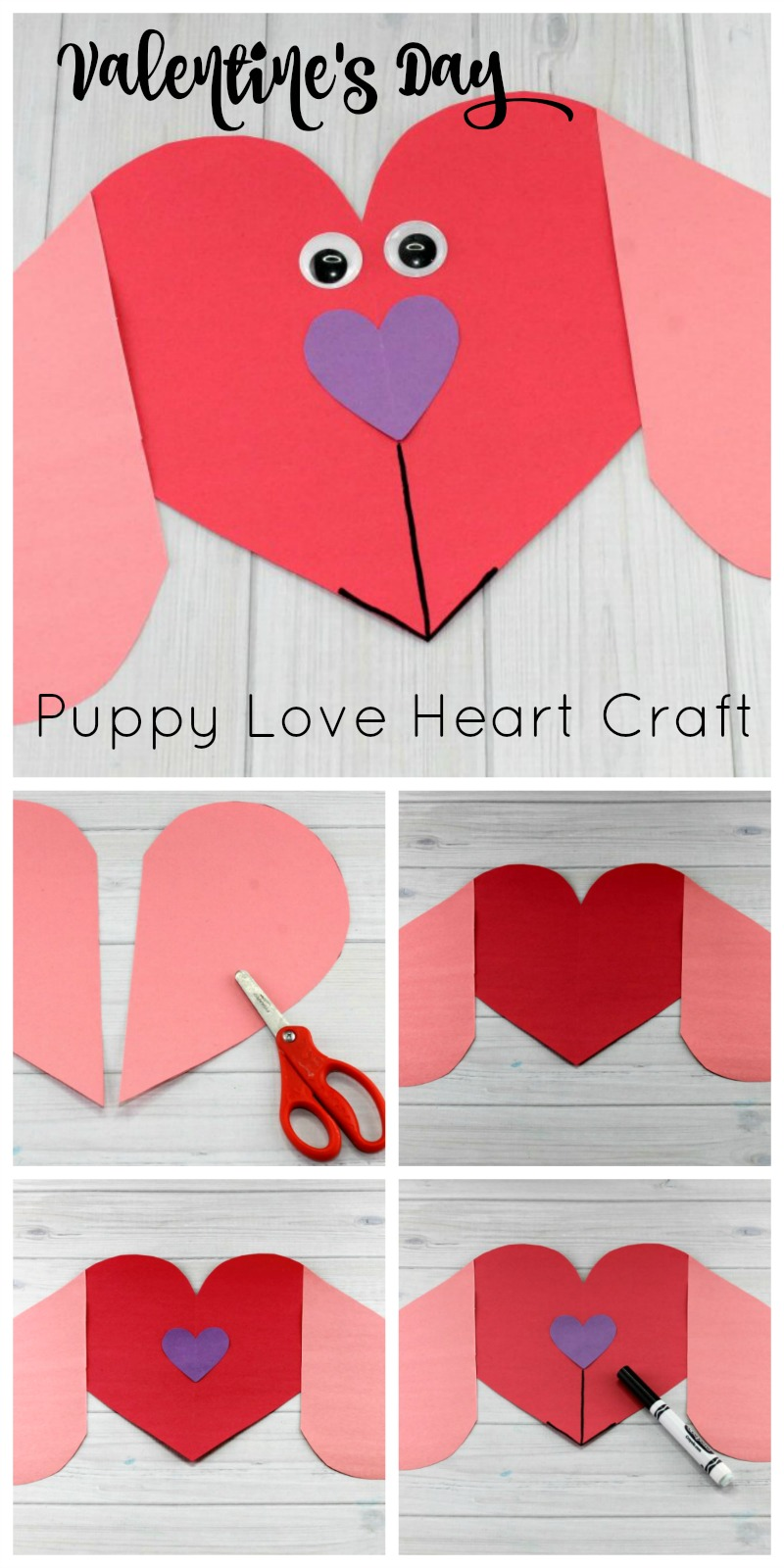 Valentine's Day Puppy Love Preschool Heart Craft Directions