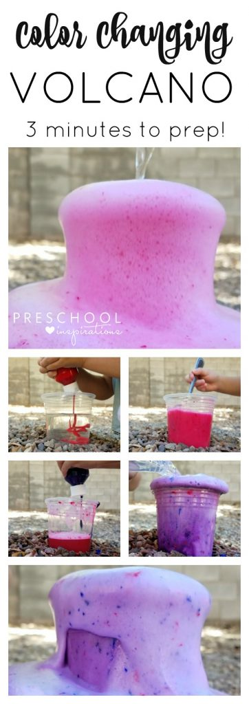 Make a quick and easy color changing baking soda and vinegar volcano for kids! #STEM #STEAM #volcano #diy #sciencefairideas #preschool #outdoorscience #outdoorkidactivities #summer #kidactivities #scienceexperiment