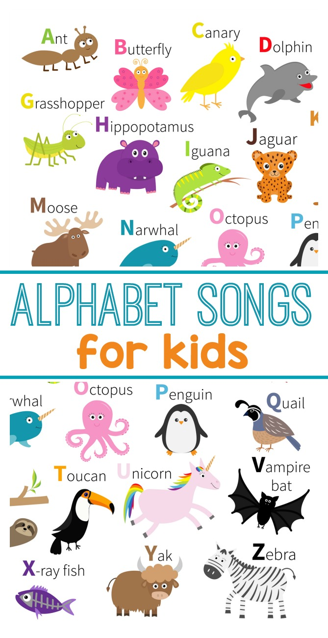 Teach the alphabet with these ABC songs for kids. Perfect for learning letters for preschool. #preschool #kindergarten #abc #songsforkids #toddlers #phonemicawareness