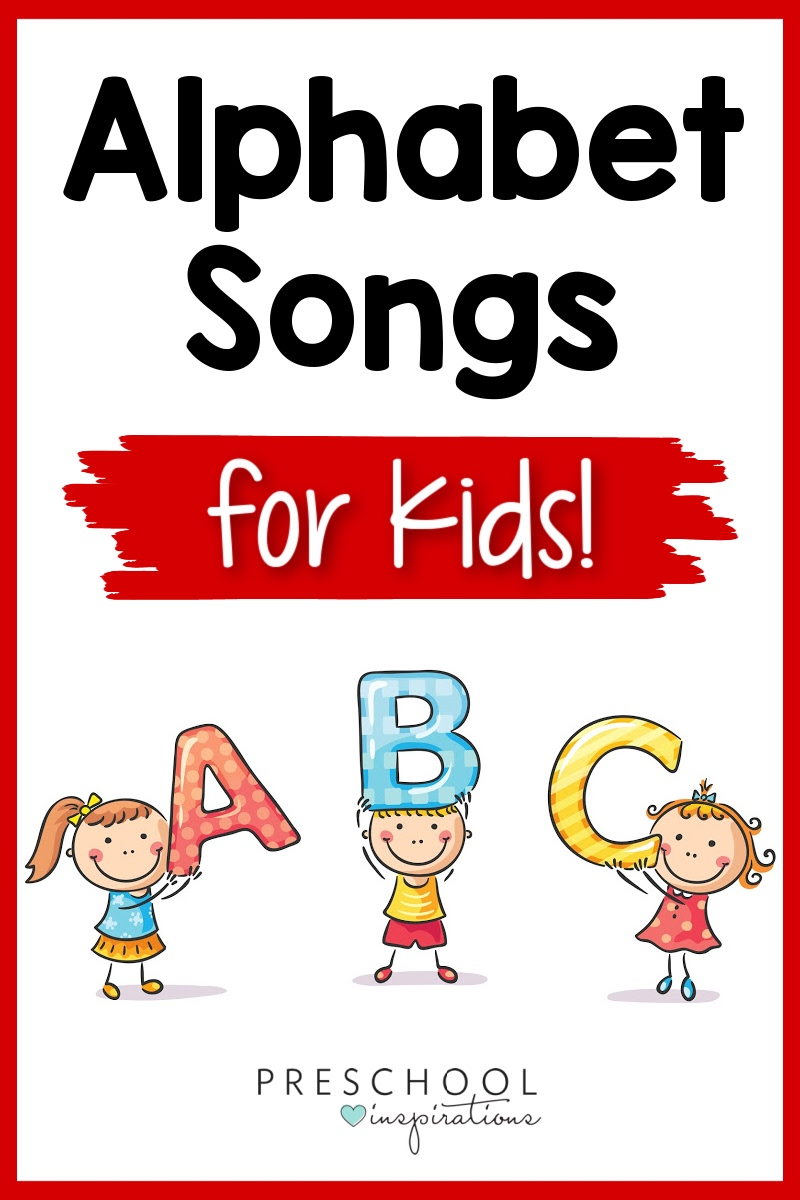 pinnable image of cartoon kids holding the letters A, B, and C and the text alphabet songs for kids