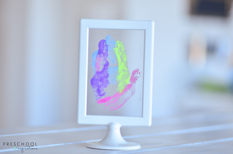 Handprint art for mom in IKEA frame