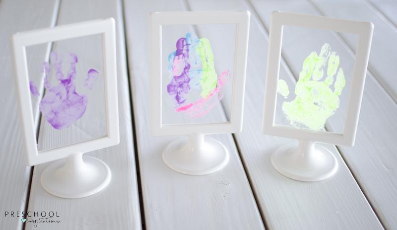 Three handprint frame art prints