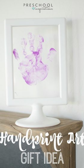 This framed handprint art gift idea is perfect for Mother's Day, and it is just the right size for a preschool craft or toddler craft.
