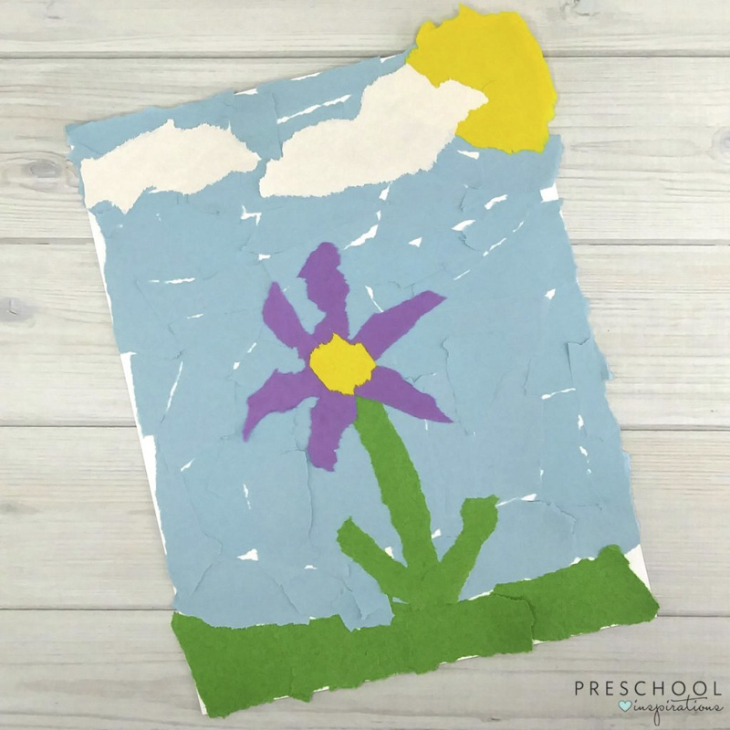 torn paper flowers for kids to make at school or home