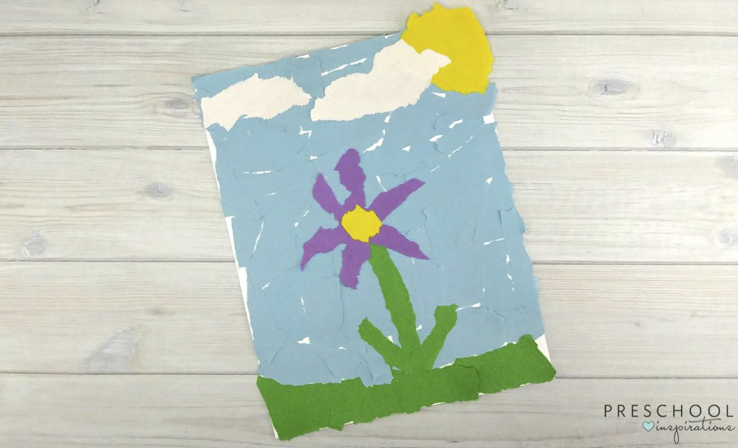 Easy Torn Paper Flowers For Kids To Make This Spring