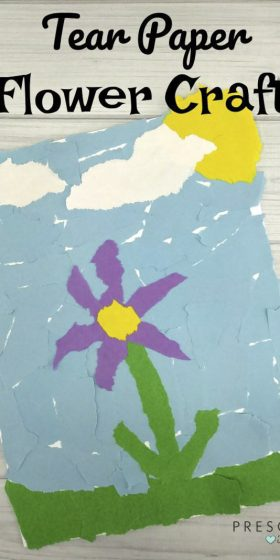 Torn paper flowers for kids to make