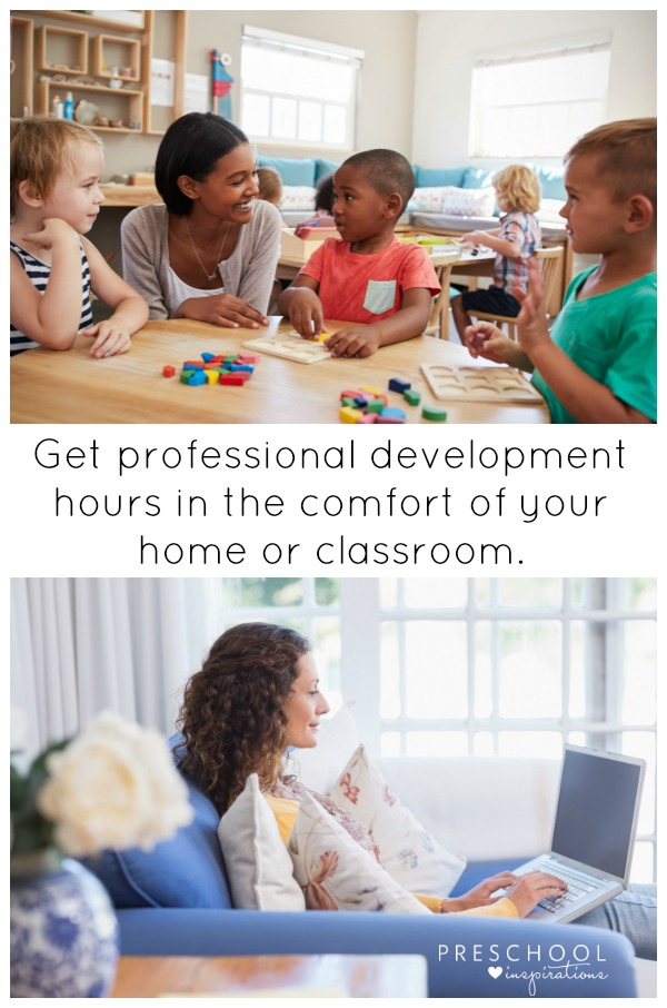 Get professional development hours at home or in your classroom with online courses for child care and preschool teachers. #toddler #preschool #prek #professionaldevelopment #childcaretraining #childcarecourses