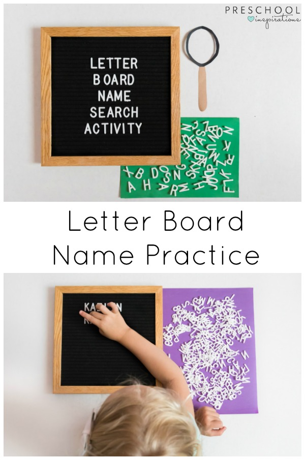 This letter board name search activity is the perfect way to practice the alphabet and help children learn to spell their names. #preschool #prek #kindergarten #literacy #alphabet #letterboard #letterrecognition #finemotor #namespelling #literacycenters #handsonactivity