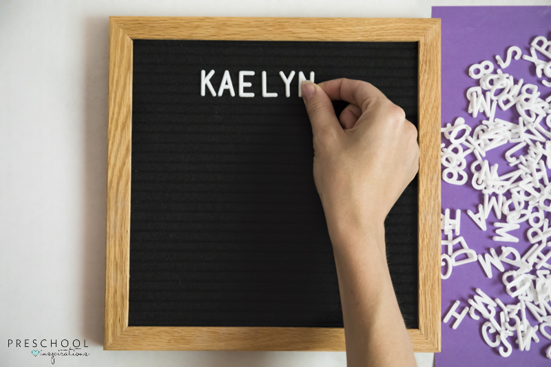 Spelling with a letter board