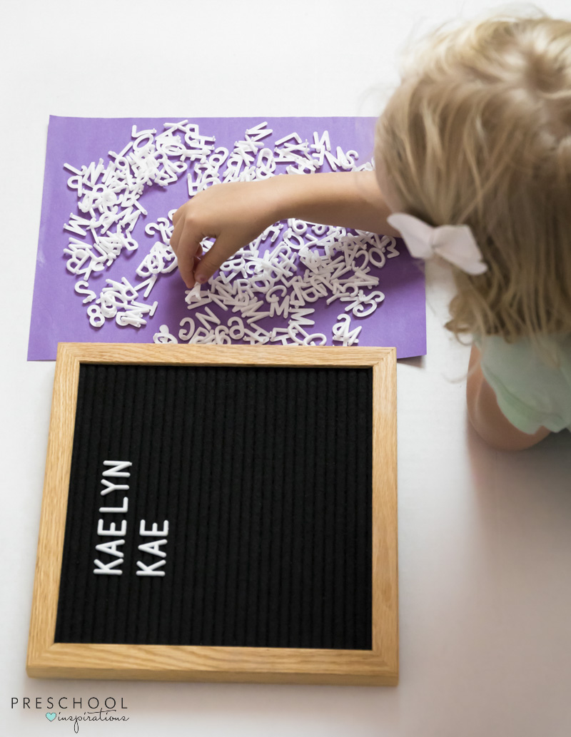 Using a letter board with kids