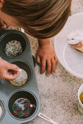 Sensory play with Muffin Tin